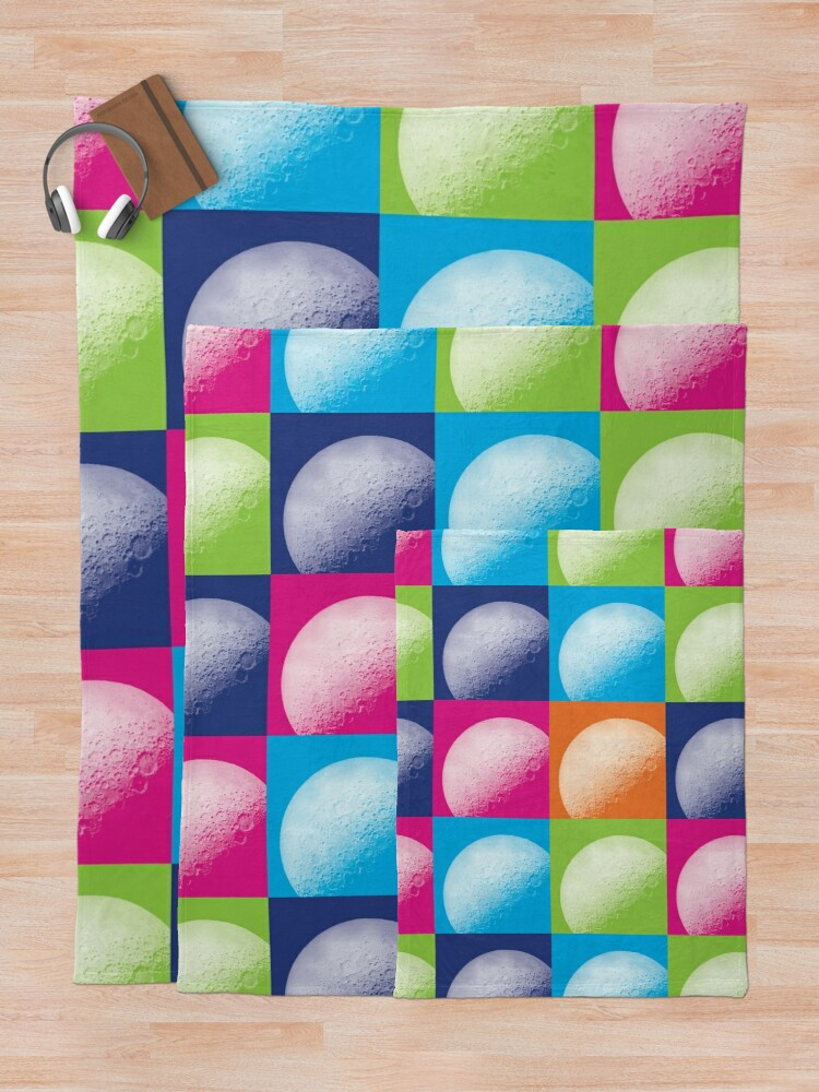 Alternate view of Colorful Pop Art Moon Pattern Throw Blanket