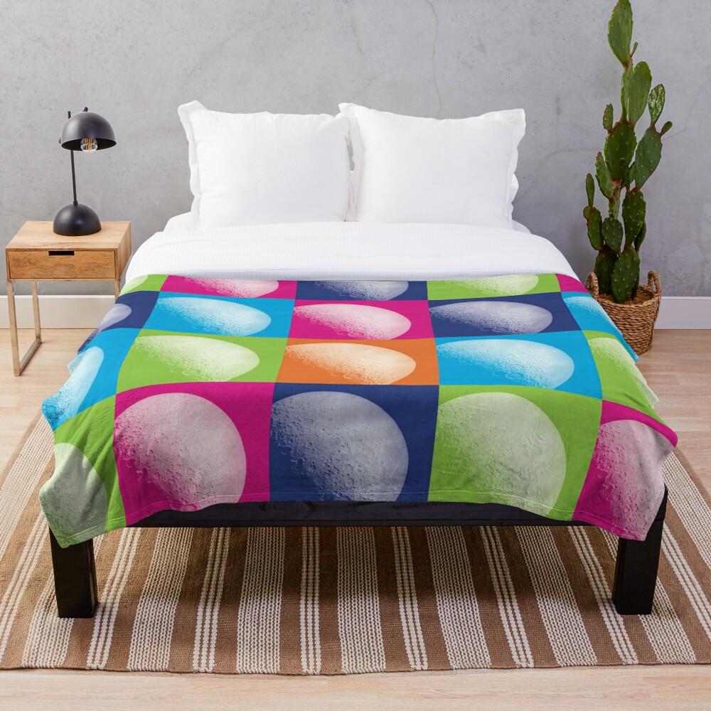 Colorful Pop Art Moon Pattern Throw Blanket