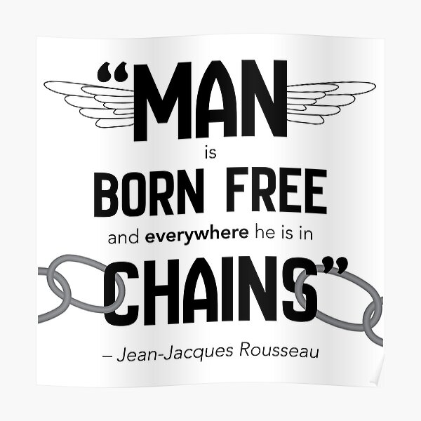 Jean-Jacques Rousseau Quote Typography Design Poster