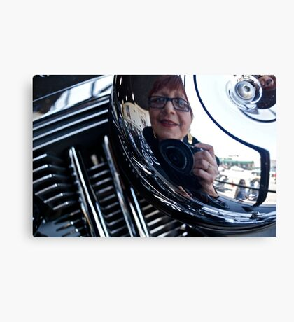 Reflections on a Harley Davidson Canvas Print