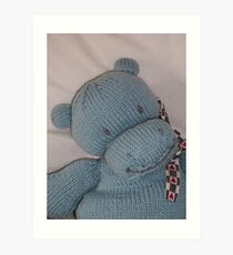 Knitted Hippo Art Print