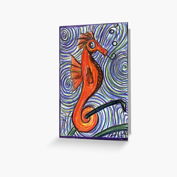 Seahorse and Swirls Greeting Card