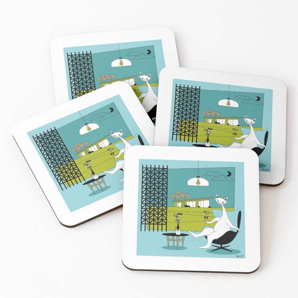 Mid Century Modern Atomic Cats In Oklahoma Countryside Interior Coasters (Set of 4)