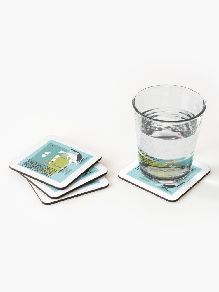 Alternate view of Mid Century Modern Atomic Cats In Oklahoma Countryside Interior Coasters (Set of 4)