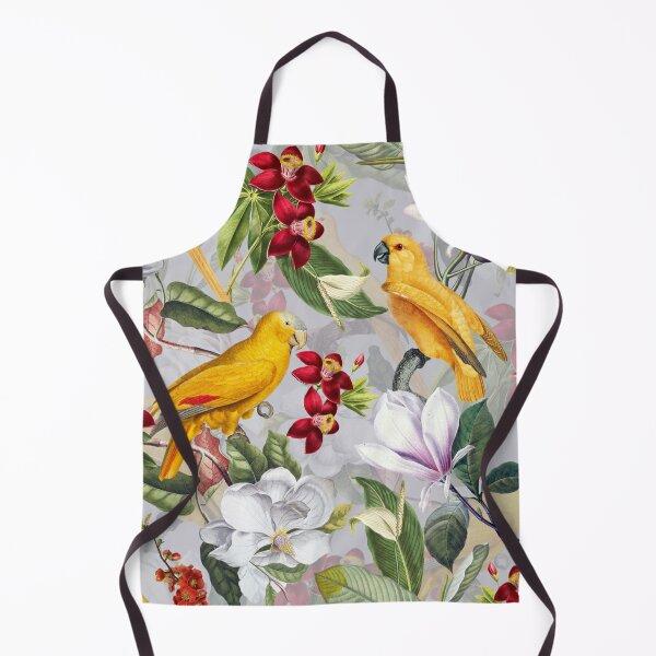 Vintage Parrot Tropical Jungle Pattern Gray Apron