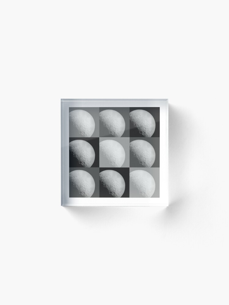 Alternate view of Black and White Moon Pattern Grid Acrylic Block