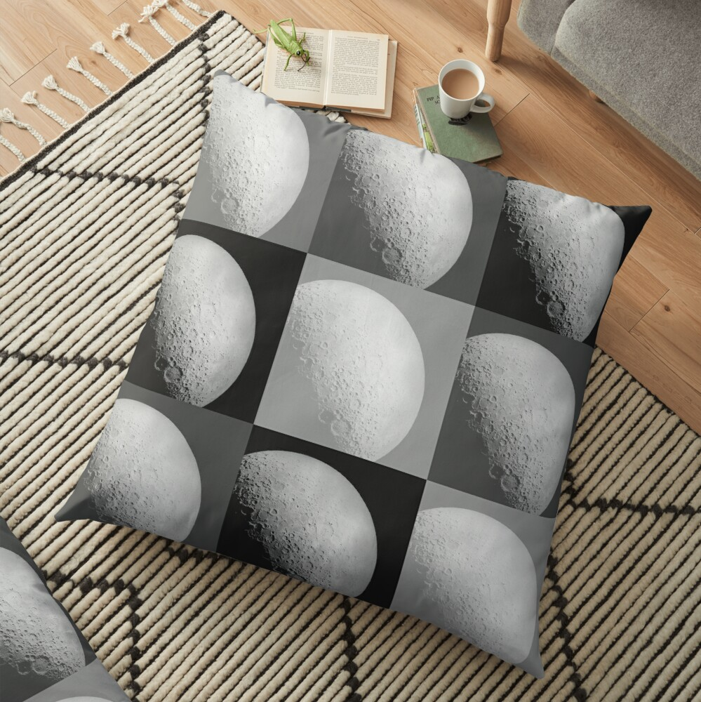 Black and White Moon Pattern Grid Floor Pillow
