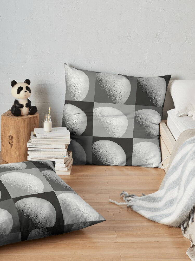 Alternate view of Black and White Moon Pattern Grid Floor Pillow