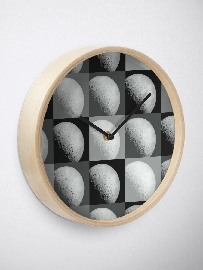 Alternate view of Black and White Moon Pattern Grid Clock