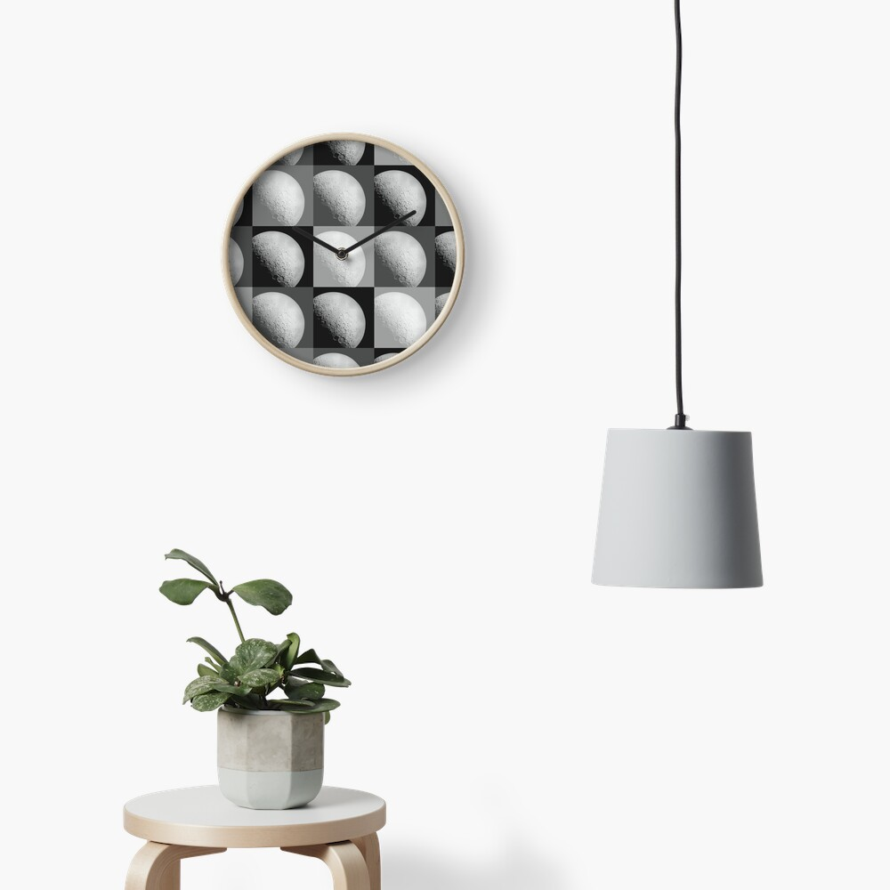 Black and White Moon Pattern Grid Clock