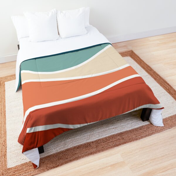 Colorful retro style waves Comforter
