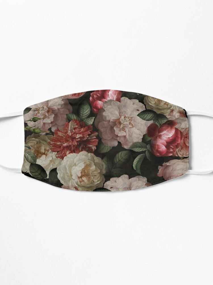 Alternate view of Antique Jan Davidsz. de Heem Lush Roses Flowers On Black Pattern Mask