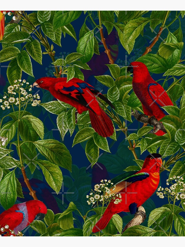 Vintage Red Parrot in Green Jungle Pattern  by UtArt