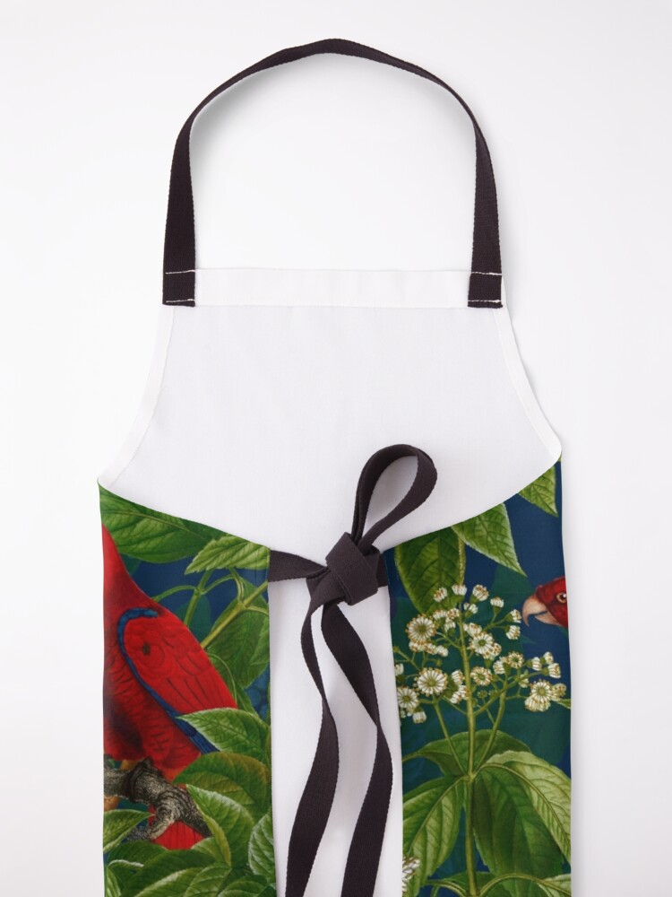 Alternate view of Vintage Red Parrot in Green Jungle Pattern  Apron