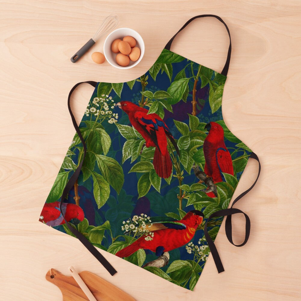 Vintage Red Parrot in Green Jungle Pattern  Apron
