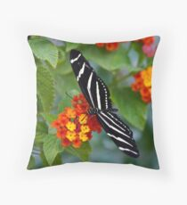 A Zebra Longwing on Lantana  Throw Pillow