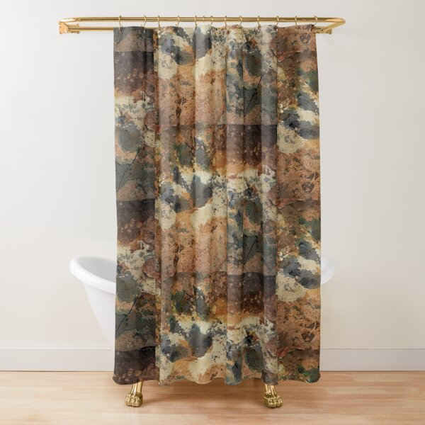 Paw Prints Brown Cracked Shower Curtain