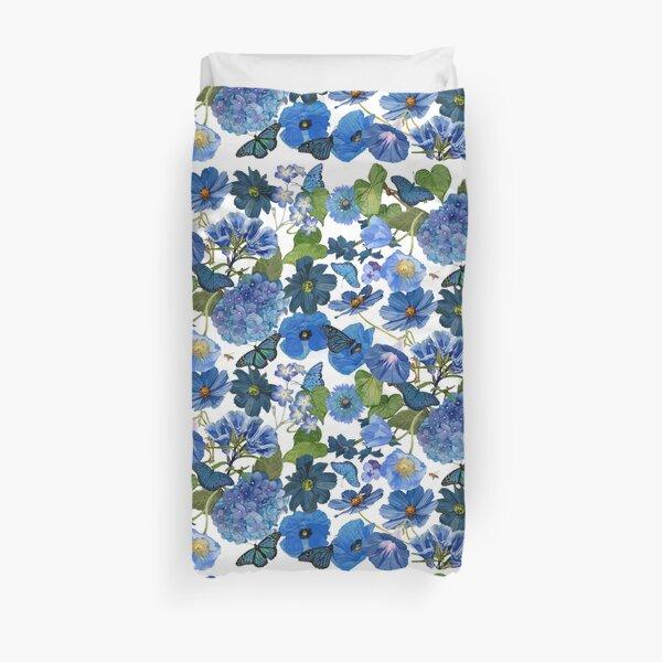 Indigo Blue Floral Allover Duvet Cover