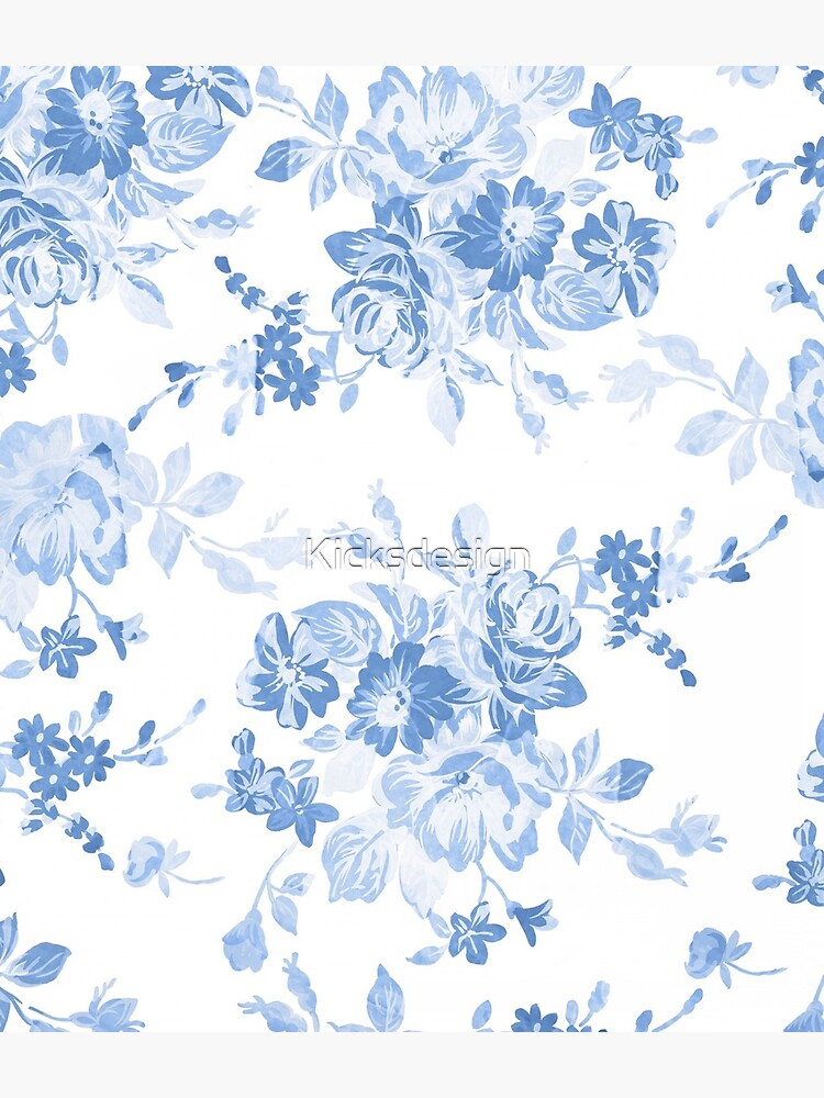 Modern navy blue white watercolor elegant floral by Kicksdesign