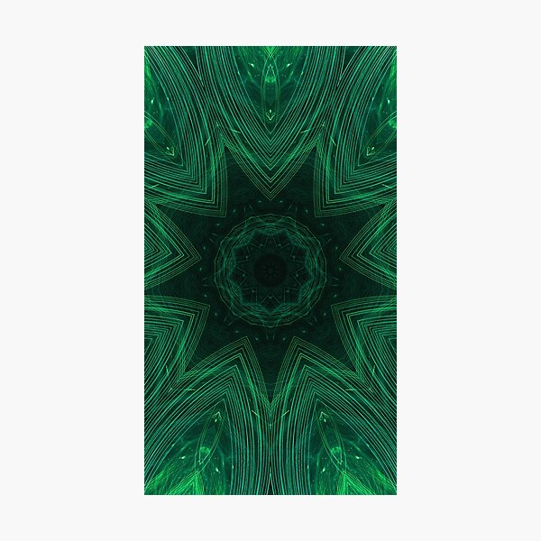Green Star Wormhole Crest Fractal Artwork Photographic Print
