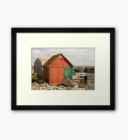 A Colorful Boat House in Nova Scotia Framed Print