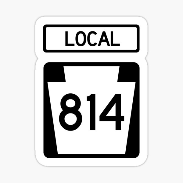 Pennsylvania State Route 814 (Area Code 814) Sticker