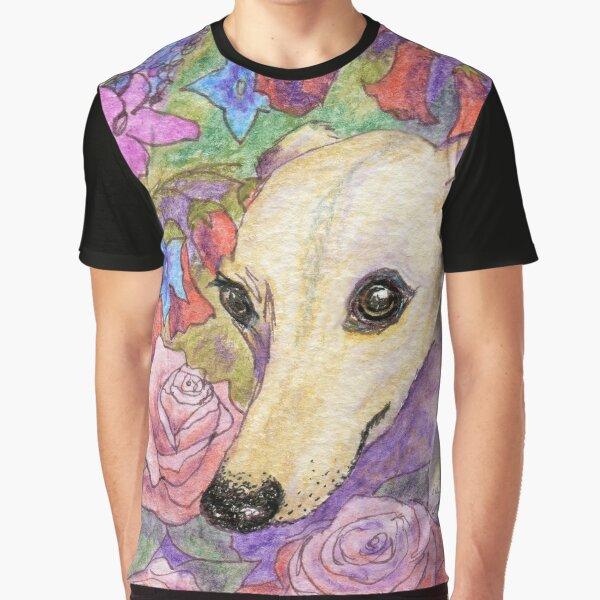 Shy flower whippet greyhound dog hiding in the garden Graphic T-Shirt
