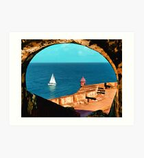 Sailboat at Morro Castle Art Print
