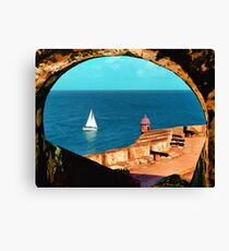Sailboat at Morro Castle Canvas Print