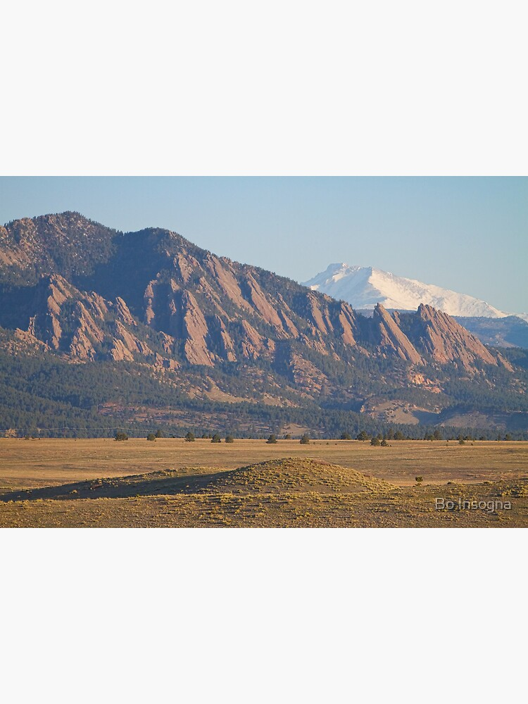 Colorado Rocky Mountains Flatirons With Snow Covered Twin Peaks by mrbo
