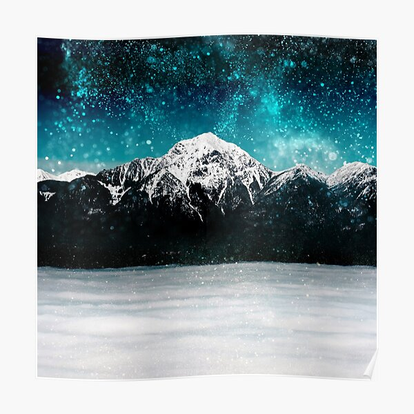 Dreamy galaxy mountain above the clouds Poster