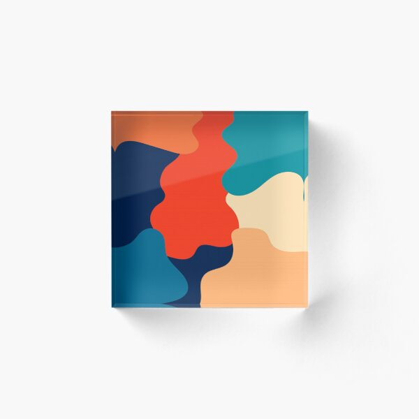 Retro 70s and 80s color abstration  Acrylic Block