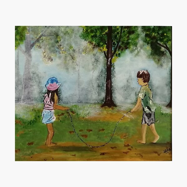 Misty Play-  playing with the childhood friend or that favourite sibling on that early winter morning.  Photographic Print