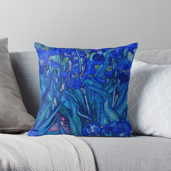 Van Gogh Irises in Indigo Throw Pillow