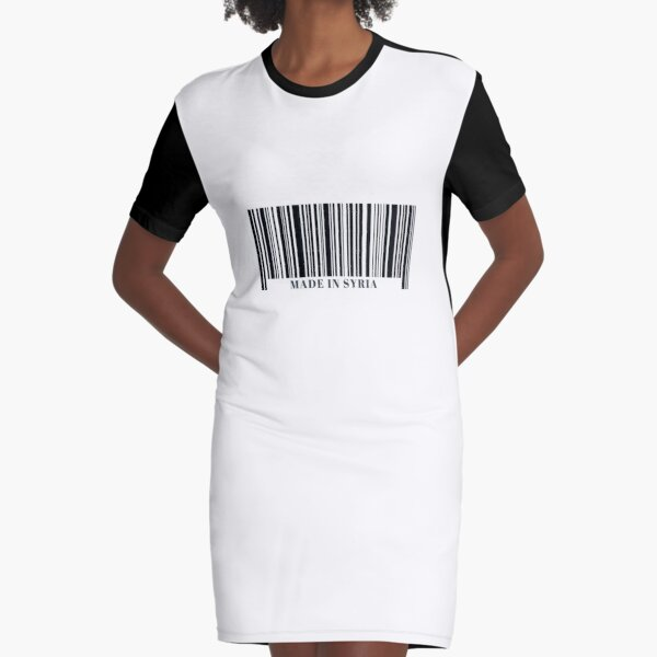 Made in Syria Black Barcode Graphic T-Shirt Dress