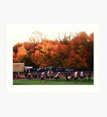 "Autumn Football with ""Dry Brush"" Effect Art Print"