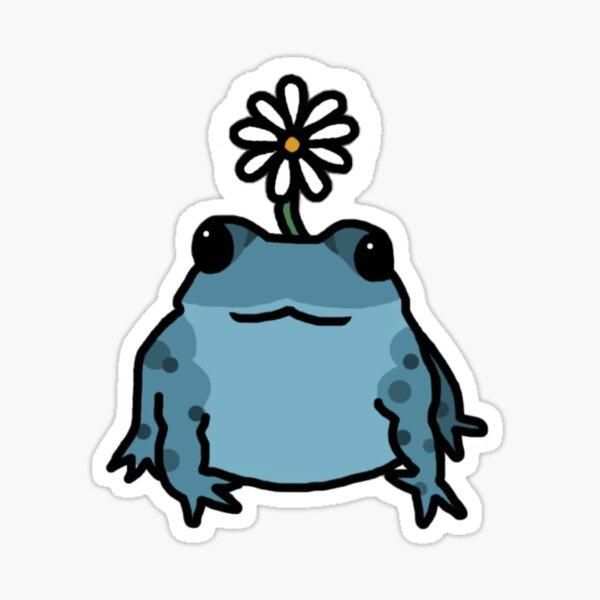 Blue Daisy Frog Sticker