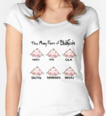 The Many Faces of Blobfish Women's Fitted Scoop T-Shirt