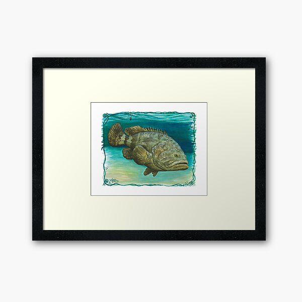 """""""Goliath Grouper"""" by Amber Marine ~ Watercolor painting, art © 2016 Framed Art Print"""