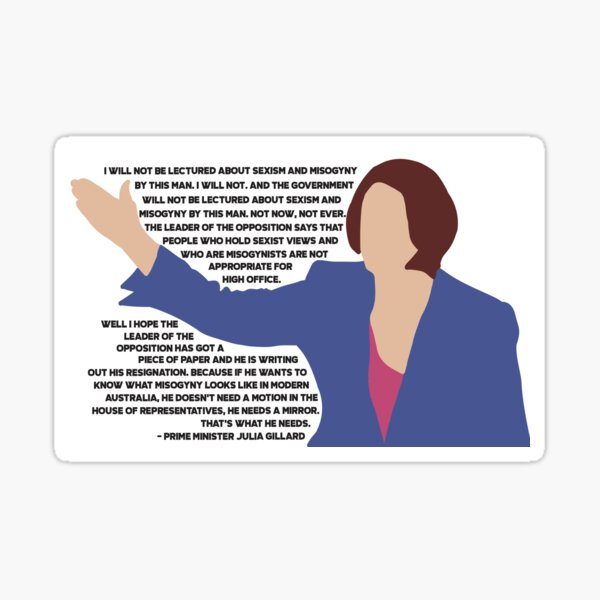 Julia Gillard Misogyny Speech Sticker