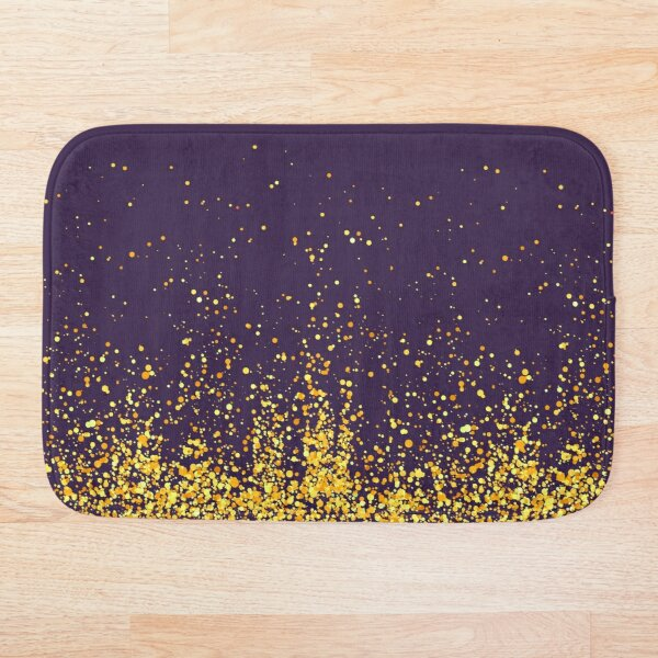 Purple and gold glitter modern pattern Bath Mat