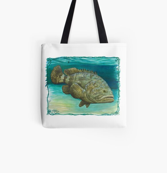 """""""Goliath Grouper"""" by Amber Marine ~ Watercolor painting, art © 2016 All Over Print Tote Bag"""