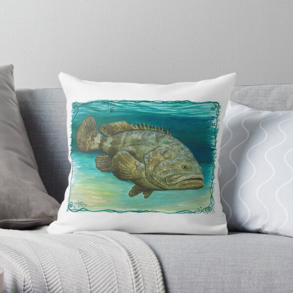 """""""Goliath Grouper"""" by Amber Marine ~ Watercolor painting, art © 2016 Throw Pillow"""