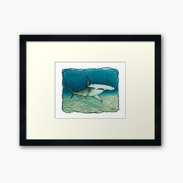 """Great Hammerhead Shark"" by Amber Marine ~ watercolor painting, art © 2016 Framed Art Print"