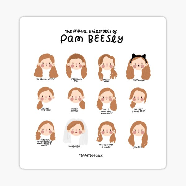Pam Beesly (The Office) Hairstyles Sticker
