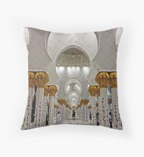 Zayed Grand Mosque Corridor Throw Pillow