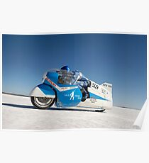 Brett de Stoop on his Suzuki GT 750 at speed Poster