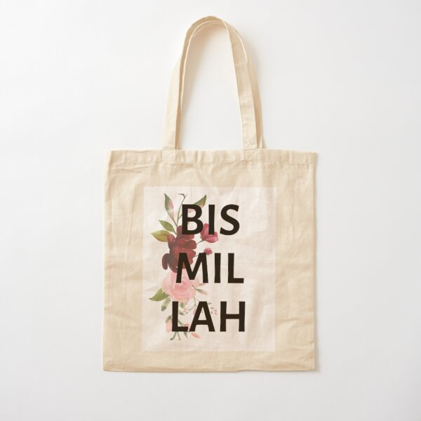 Floral Bismillah Cotton Tote Bag