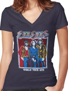 BEE GEES WORLD TOUR Women's Fitted V-Neck T-Shirt