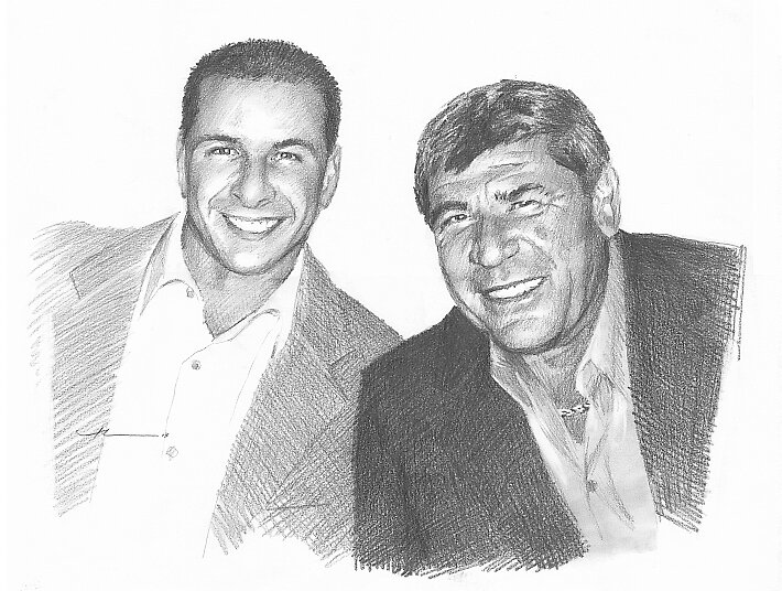 Dad & departed son drawing by Mike Theuer